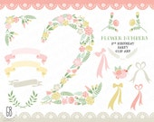 Floral number, flower type, baby girl 2nd birthday party, clip art, vector, flowers, invitation, nursery decoration
