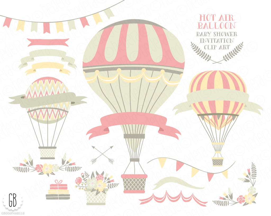 Flower Baskets Vector : Hot air balloon flower basket floral wreaths ribbons baby