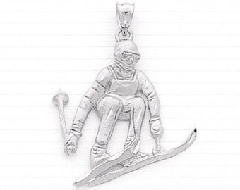Male Skier Charm,Sterling Silver,Ski,Skier Pendant,Sports,Ski Jewerly,Winter Olympics,Ski Necklace