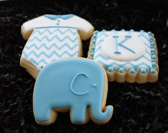 Baby shower cookies, custom cookies, baby shower favors, elephant cookies, chevron stripes cookies, gender reveal, baby boy, baby girl