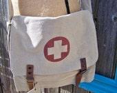 Khaki Vintage Military Canvas Medic Messenger Bag, Cross Body, Unisex Bag, Shoulder Bag, Military Bag, Tech Bag, Medic Bag, Red Cross Bag