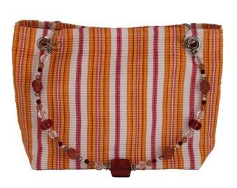 Orange, Pink, Yellow and White Striped Pattern, Fashion Purse, Beaded Handle, Fabric Handbag