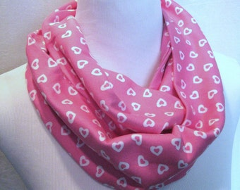 Pink and White Hearts Jersey Knit Infinity Scarf - MEDIUM LENGTH - Youth scarf - Valentine Scarf - ChevronScarf