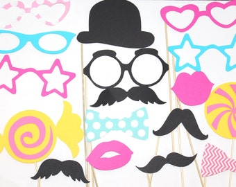 20 PhotoBooth Props, Mustache Party, Lips, Wedding Photo Booth, Props on a Stick CandyLand, Candy Part