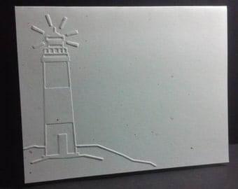 Lighthouse Embossed Note Card/Lighthouse Card/Blank Note Card