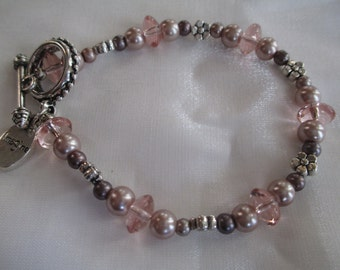 Pink and plum beaded bracelet