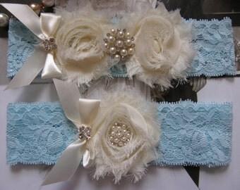 Something Blue / Garter  / Lace Garter / Blue / Ivory / Bridal Garter Set / Bridal Garter / Toss Garter / Vintage Inspired