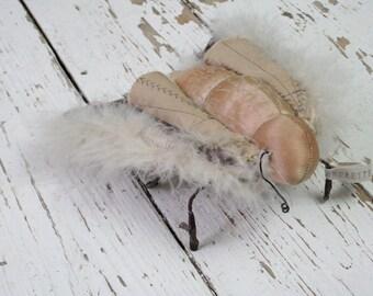 Moth Sculpture, 3D Textile Moth, Mixed Media, Fabric Sculpture, Original Artwork