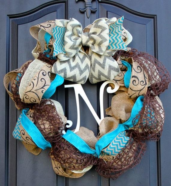 Items Similar To Chevron Burlap Wreath