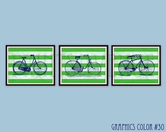 BIKE Art Prints, BOYS Room Art, BICYCLE Wall Art, Bike Wall Decor, Trio Art, Wall Decor Set, 8x10