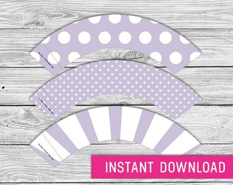 Printable Cupcake Wrapper - Lavender (instant download, cupcake wrappers, cupcake liner, baby shower, baby boy, first birthday, wedding)