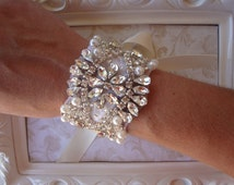 Bridal Bracelet - Couture Crystal Rhinestone and Pearl Bridal Bracelet - Bridal Cuff - Bouquet Wrap