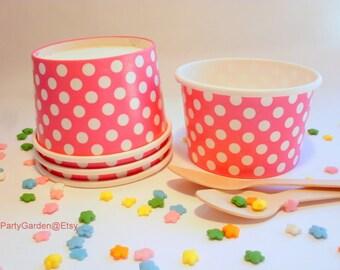 24 Mini Hot Pink Polka Dot Ice Cream Cups - 4 oz