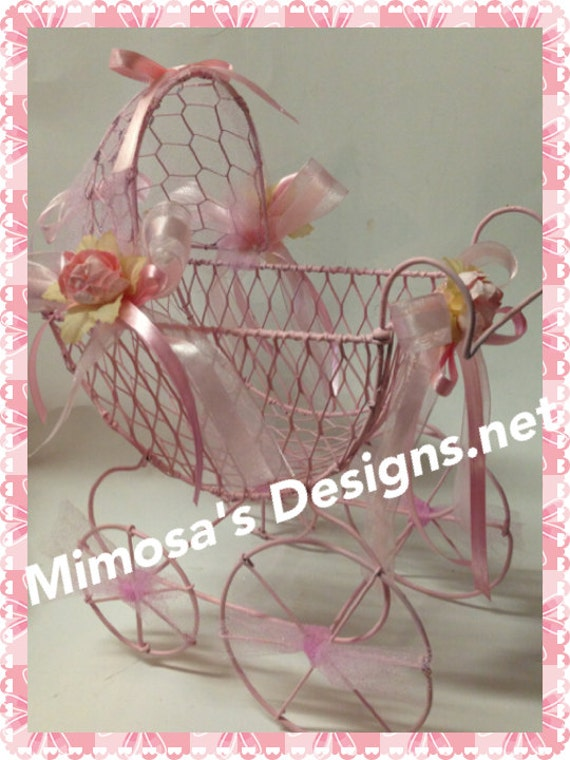 Baby shower centerpiece baby carriage by mimosasdesigns for Baby carriage decoration