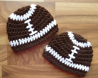 Crocheted Baby Boy Football Hats, Twins Football Hat Set, Chocolate Brown with White Laces, Newborn to 24 Months - MADE TO ORDER