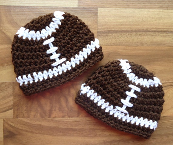 Crochet Pattern Baby Hat Free : Crocheted Baby Boy Football Hats Twins Football Hat Set