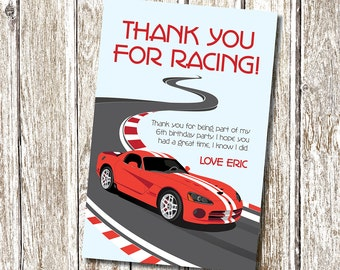 Red Racing Car Thank you Card - Printable and Personalised