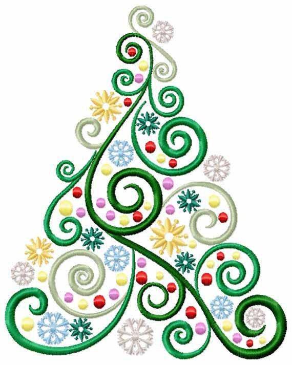 Items Similar To Christmas Tree Machine Embroidery Design - Swirls Stars And Balls - Digital ...