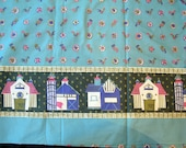 Vintage 1950s to 1960s Cotton Quilt Fabric Border Print with Barns and Chickens