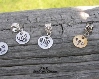 Hand stamped jewelry ,personalized, engraved,Personalized Hand stamped  custom european charms