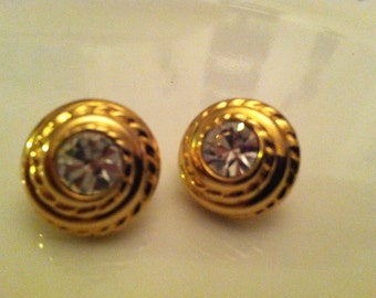 SIGNED SWAROWSKI Rhinestone Button Pierced Earrings
