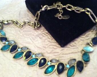 Green Open Bezel Crystal Necklace Signed V. Possibly Vargus
