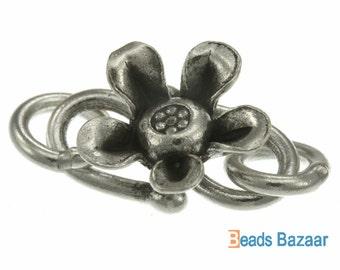 Karen Hill Tribe silver 5-Petal flower S Hook, 26mm.