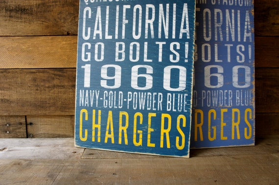 San Diego Chargers Distressed Wood Sign--Great Father's Day Gift!