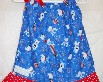Boutique Quality Patriotic Ruffle Pillowcase Dress Size 12M