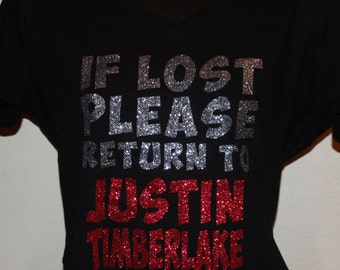 Women's If Lost Please Return to Justin Timberlake Glitter Shirt