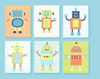 Robot Nursery Decor, Robot Wall Art, Nursery Wall Art, Baby Boy Nursery, Boy Nursery Decor, Boy's Room Art, Nursery Robot Prints, Robot Art