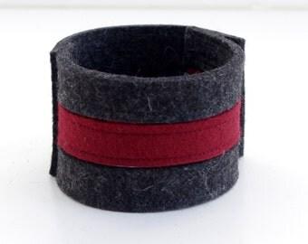 Wrist Cuff, Two Colour Felt Bracelet, Gray and Burgundy Felt Cuff, Wristband Felt