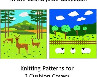 Pillow Knitting Patterns - Sheep in the Countryside and Deer in the Countryside