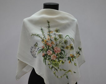 Vintage SILK scarf , hand painted , hand rolled