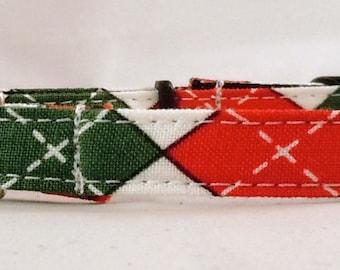 Cat Collar - Christmas Argyle - White