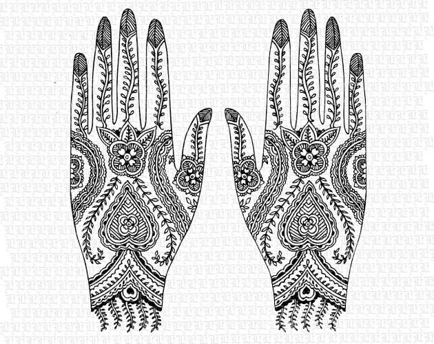 Mehndi Hands Clipart : Henna tattoo vintage clip art mhendi digital images for