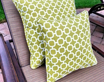 FREE SHIPPING - Set of Outdoor Pillows, green and white geometric print pillows, accent decorative throw pillows, includes inserts.