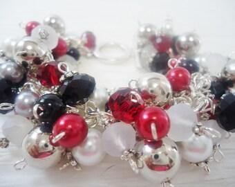Red White and Black  Chunky Beaded Cha Cha Bracelet Charm Bracelet