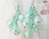 seaglass blue/green and silver lucite flower dangle earrings No. 279 - VerdigrisGifts