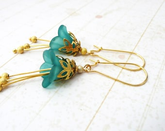 Earrings, Gold and turquoise lucite flower dangle earrings No. 291