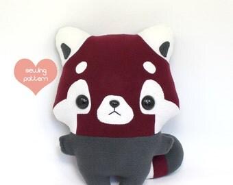 """PDF plush sewing pattern - Red Panda kawaii plushie - easy DIY anime stuffed animal 13"""""""