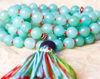 Mantra Beads, Gemstone Mala, Buddhist Mala Bead, Green Aventurine For Optimism, Emotional Healing & Well-Being