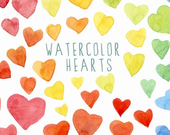 Digital Clipart ,Watercolor Hearts, Hand Painted Clip Art, valentines day, love, rainbow colors