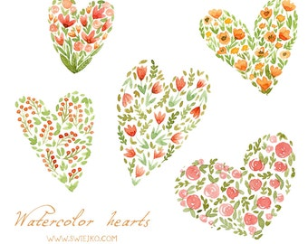 Digital Clipart ,Watercolor Hearts, Watercolor Flowers, Hand Painted
