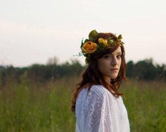 RESERVED Yellow Garden Rose Headpiece