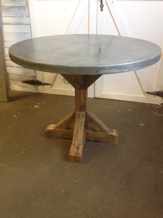 Items Similar To 40 Quot Round Top Zinc Table On Etsy