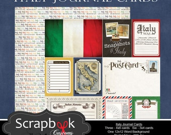Italy Journal Cards. Digital Scrapbooking. Project Life. Instant Download.