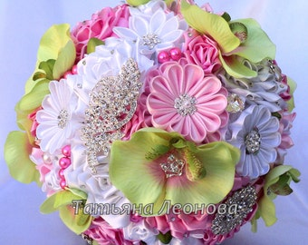 "Fabric Wedding Bouquet, Brooch bouquet ""Grace"" Pink and Green"