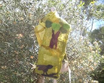 Nuno Felted green Silk Scarf