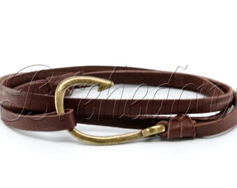 Bronze Fish Hook Bracelet on Chocolate Brown Leather
